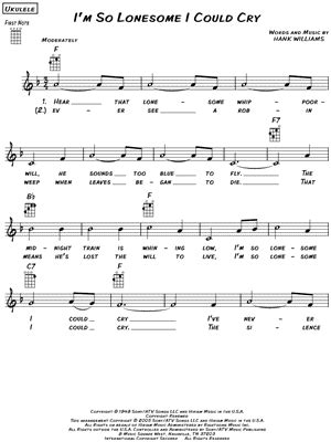 """Hank Williams """"I'm So Lonesome I Could Cry"""" Sheet Music"""