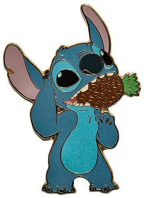 Stitch eating whole pineapple (Aloha pin set) from our