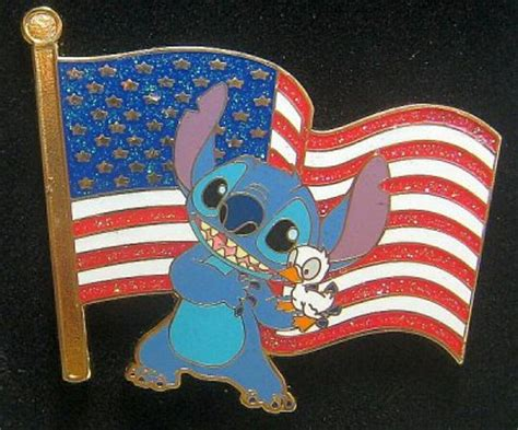 Stitch and duckling Old Glory American flag pin from our